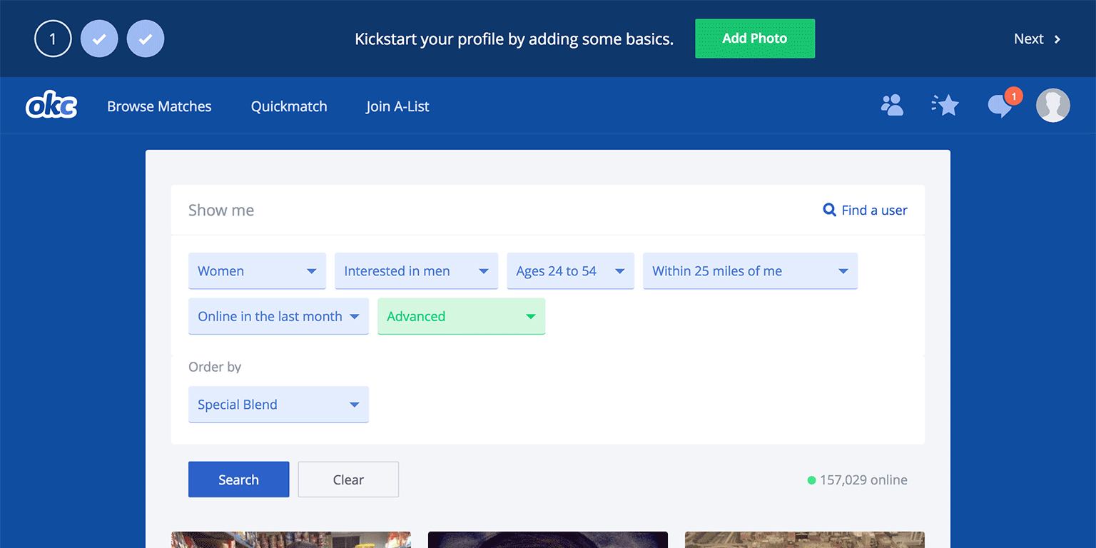 "OKCupid makes adding a display photo hard to ignore. It would probably help to also add some supporting copy, like ""profiles with photos get XX% more views""."